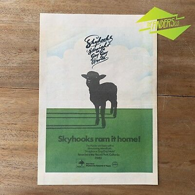 Vintage 1976 Skyhooks Straight In A Gay Gay World Genuine Newspaper Ad Poster