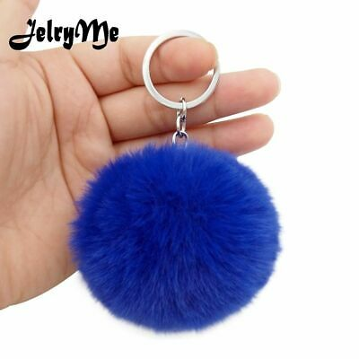 Fluffy Keychains Soft Rabbit Fur Keyring Key Chains Women Bag Pendant Jewelry