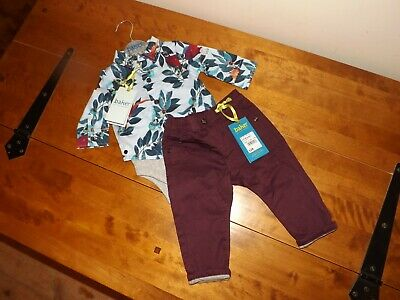 Nwt Ted Baker Pheasant Shirt Body & Jersey Lined Chinos, Age 3-6 Months
