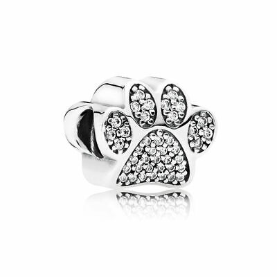 New Authentic Pandora Charms 925 ALE Sterling Silver Paw CZ Bracelet Charm Bead