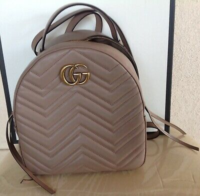 dd5cdafb181 Gucci GG Marmont quilted leather backpack Dusty Pink Or Dark Nude Pre-owned