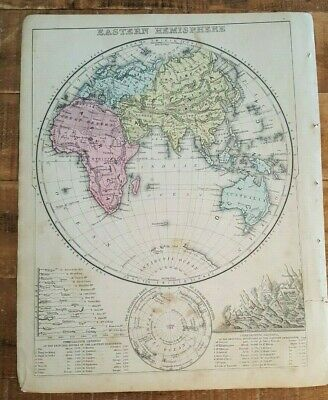 Antique Colored MAP OF EASTERN HEMISPHERE 1872 Mitchell's New Interm. Geography