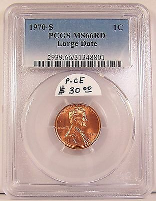 Certified 1970-S Large Date Lincoln Memorial Cent in PCGS MS66RD (MS-66 Red)