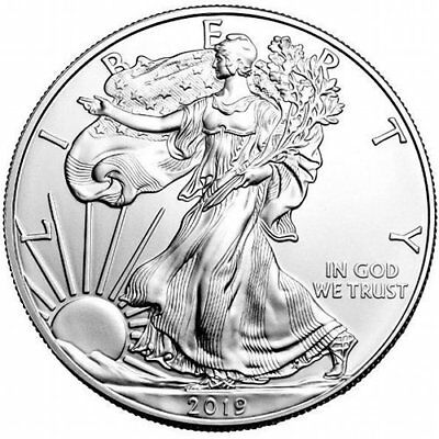 (3)2019 Silver American Eagles 1 Oz .999 Fine One Dollar BU With Airtite Capsule