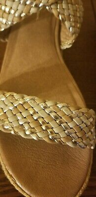 858021c5e9 JESSICA SIMPSON Woven Glitter Silver Ankle Strap SANDALS Rope Wedge Platform  9B