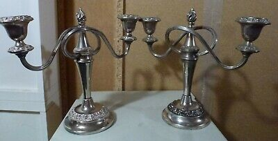 Pair Of Vintage Victorian Style Silver Plate Epns Candelabra Candlesticks