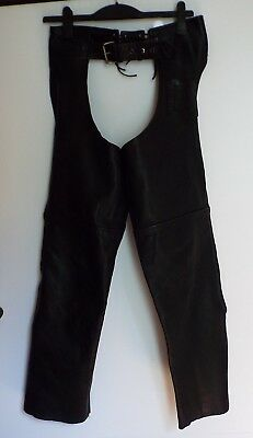 "Jts 30"" Black Classic Motorcycle Horse Ride Western Unisex Cowhide Leather Chaps"