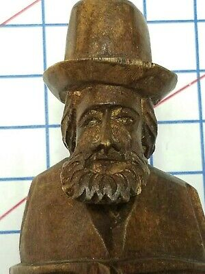 HAND CARVED WOOD Vintage Folk Art gypsy hobo man figure statue sculpture