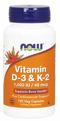 Now Foods Vitamin D-3 & K-2, 1000 IU, 120 Veg Caps, Bone & Cardio Health D3 K2