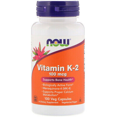 Now Foods Vitamin K-2 100 mcg 100 Veg Caps, K2 Support Bone Cardio Health w/ Alf