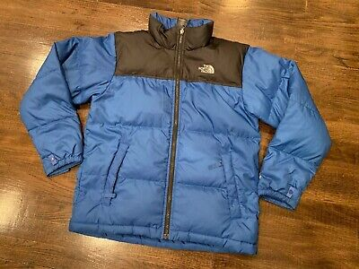 b48b7328b5e The NORTH FACE 550 Goose DOWN Boy s Large 14 16 Puffer Blue BLACK Jacket!
