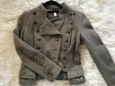 d8f27449b58 Free People We The Free Jacket Sz 0 XS Majorette Dark Green Military Lace Up