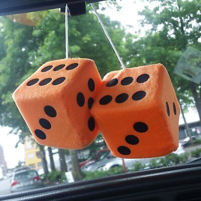 3 Green Fuzzy Dice With White Dots Pair Vpadicegnw Vintage Parts