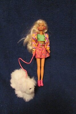 Vintage Barbie Style Doll with Dog that Plugs into Doll's Hand