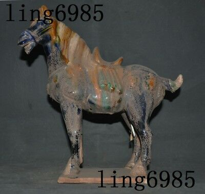 antique Old Chinese Tang san cai pottery Dynasty War Tang Horse Horses Statue