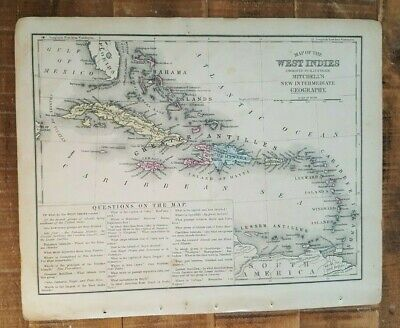 Antique Colored MAP OF WEST INDIES - 1872 Mitchell's New Interm. Geography