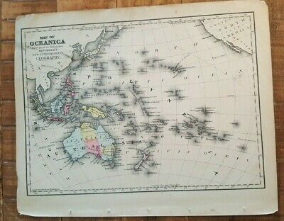 Antique Colored MAP OF OCEANIC - 1872 Mitchell's New Interm. Geography