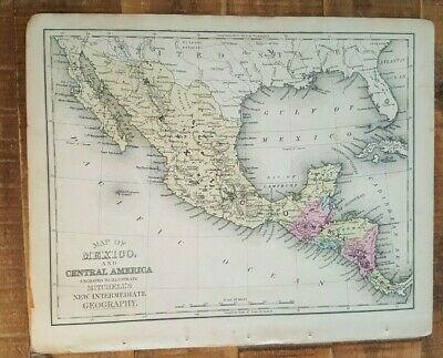 Antique Colored MAP-MEXICO & Cent. America/1872 Mitchell's New Interm. Geography