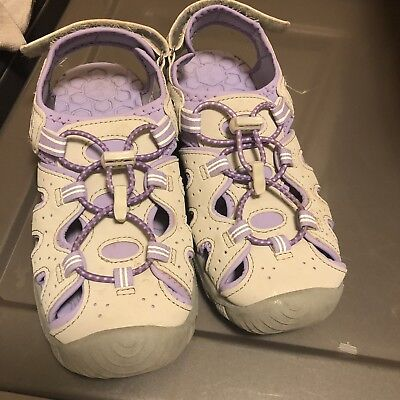 NEW Khombu Girls Kids Closed Toe Sport Active River Sandal Grey Purple Pick Size
