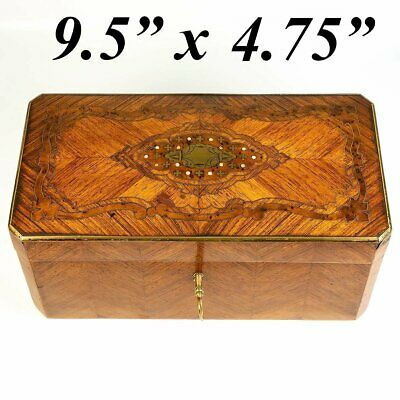 Antique French Box, Napoleon III Era Casket with Kingwood, Brass Boulle & Pearl