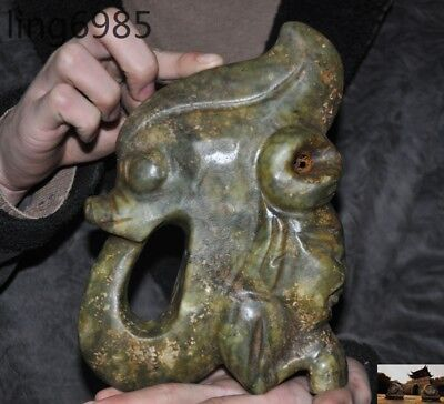 rare Chinese Hongshan Culture Old jade Hand-carved pig Dragon people head statue