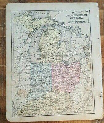 Antique Colored MAP- OHIO, MICHIGAN, IN & KY / 1872 Mitchell's New Geography