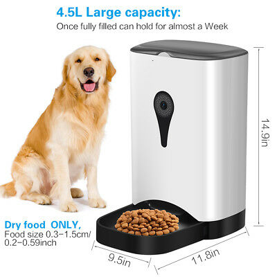 4.5L Smart Automatic Pet Feeder with WiFi HD Camera Control Time for Cats Dogs