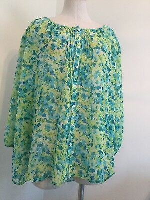 9243f07a5a6 St Johns Bay Blouse Top Plus Size 2X Green Floral Sheer Button Down Poly