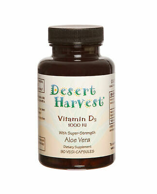 Desert Harvest Vitamin D3, 1000 IU with Super Strength Aloe Vera - 90 Caps
