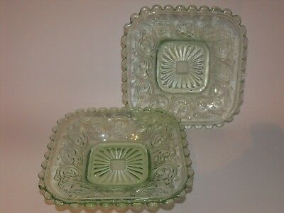 2 x Green Depression Glass Ice / Butter / Side Square Plate c.1930 *Combine Post