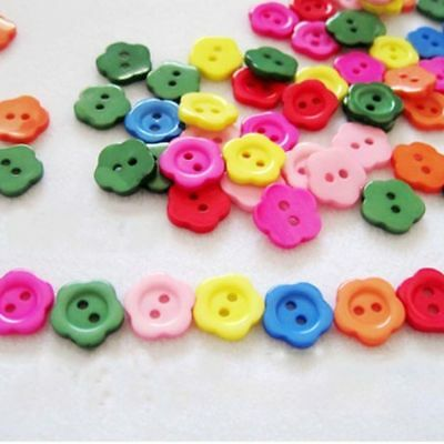 100pcs Flower Resin Sewing 2 Holes Buttons Scrapbooking Crafts 14mm Multicolor