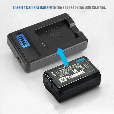 NP-FW50 Battery Charger USB Charging for Sony Alpha A6000 A6300 A6500 A7r A7