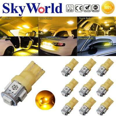 10x T10 LED Canbus Error Free 5 SMD Car Side Wedge light Bulb Yellow 168 194 W5W