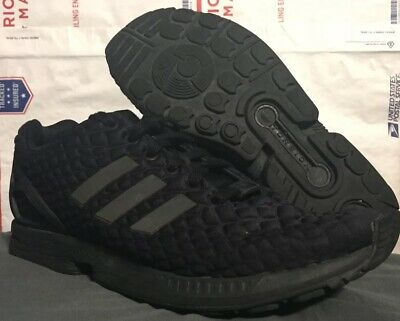 65e4e1c24 MENS ADIDAS ZX Flux Shoes All Black Reflective Logo Stripes Size 8 USED -   0.01