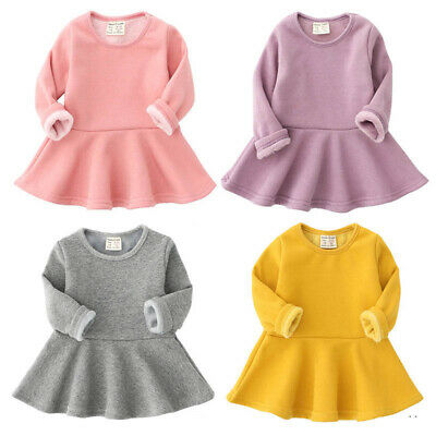 Infant Baby Kids Girls Cotton Dress Long Sleeve Casual Autumn Warm Clothes 3-36M