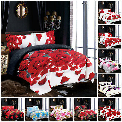 4 Piece Bedding Set with Duvet Cover & Pillow Cases Free Fitted Sheet All Size