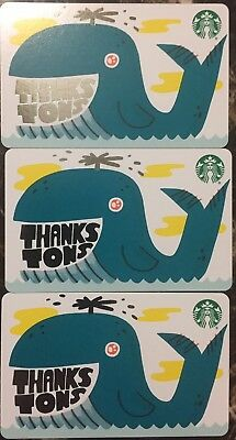 """Lot 3 Starbucks """"THANKS TONS"""" 2019 Recycled Paper gift card set NEW"""