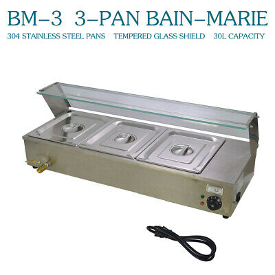 3 Pan Electric Bain Marie Stainless Steel Food Warmer Holder & Lids Commercial