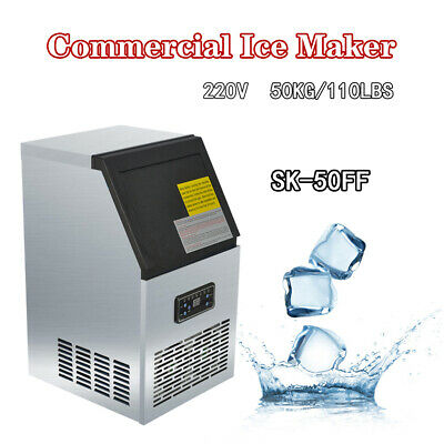 110Lbs 50kg Auto Ice Cube Machine Commercial Ice Maker Timing Cleaning 230W 220V
