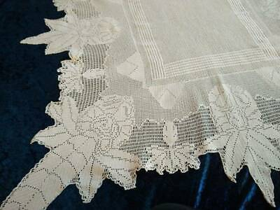 Antique MARY CARD? Design Filet Hand Crochet  'Rhododendron' Tablecloth