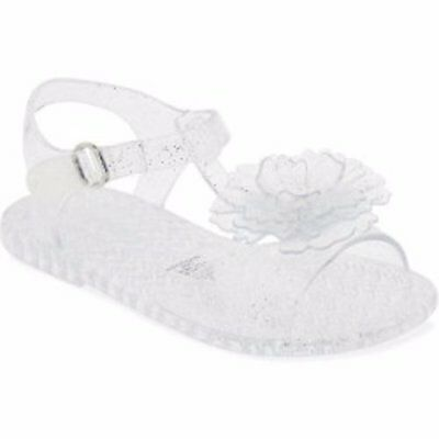 4216f4009cac New Toddler Girls Old Navy Clear Glitter Flower Jelly Sandals Size 5