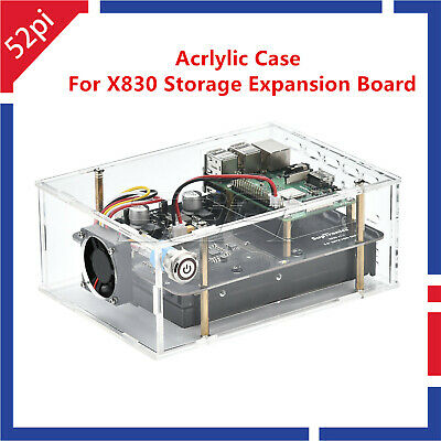 """Acrylic Case with Cooling Fan for Raspberry Pi 3B+ X830 3.5"""" Expansion Board"""