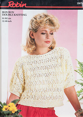 Robin Knitting Pattern 13700 Ladies Girls Lacy Cardigans 26-40 DK Vintage NEW