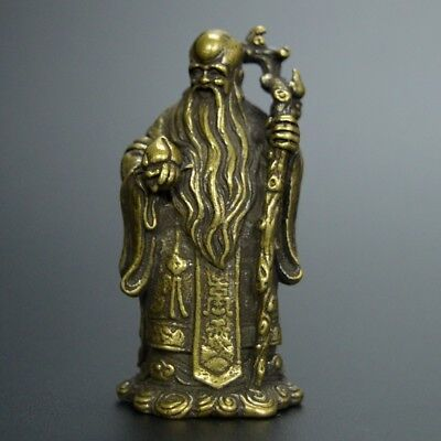 Chinese old collection handwork bronze God of wealth god of longevity statue
