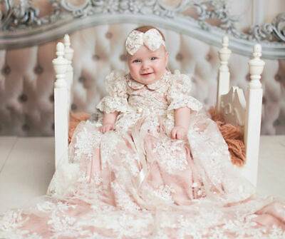 Soft Pink Baby Christening Gowns Baptism Dresses Half Flare Sleeve Headband/Hat