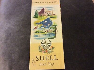 Vintage Shell Road Map - Melbourne & Environs
