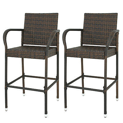 2 PCS Wicker Bar Stool Outdoor Backyard Rattan Chair Patio Furniture Chair