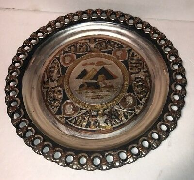 """Egyptian Metal Hand Crafted Plate Wall Decor 9.5"""" Pyramids & Sphynx"""