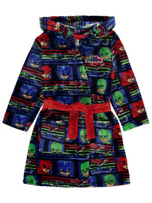 BNWT PJ Masks Hooded Belted Fleece Dressing Gown Robe Housecoat 1.5-2 4-5 Years