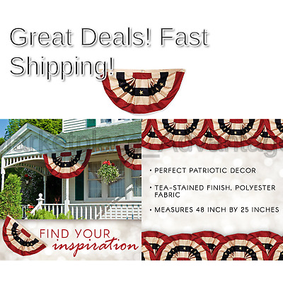 Darice 2508-93 Tea Stained American Flag Bunting – Display Stars and Stripes ...